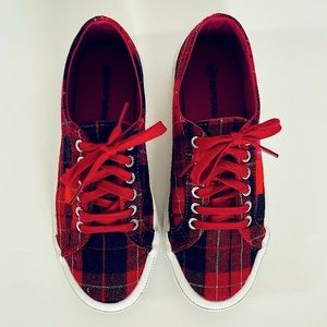 SUPERGA // red plaid flannel lace up sneakers 39